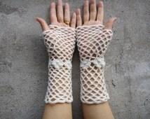 Crochet Fingerless Gloves Wedding Bridal Mittens