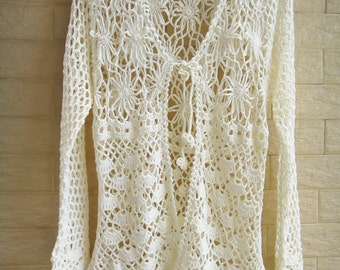Tie Front Crochet Cardigan Long Sleeve Women Blouse
