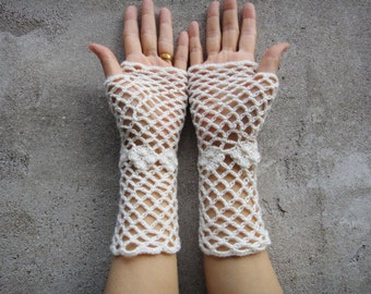 Crochet Fingerless Gloves Wedding Bridal Mittens