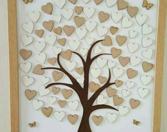 Personalised Wedding tree guest book with hearts in a frame keepsake