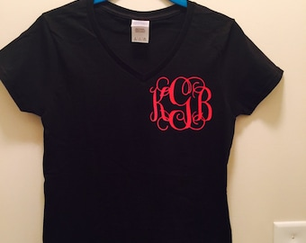 Womens ladies v neck t shirt monogram