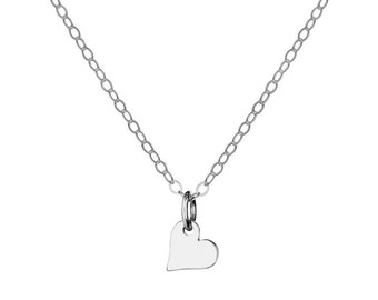 Sterling Silver Tiny Heart Charm Necklace