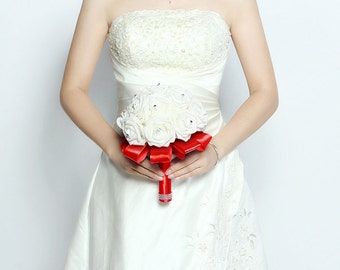 Handmade Wedding Flower Bouquets White Rose Flower with Silk Pearls - Red