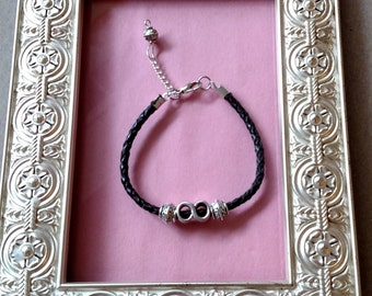 Brown Leeather Bracelet with Pewter Accents