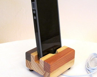 Wood iphone dock, charging stand for cell phone, ipod and iphone 5, wooden charging station, docking stand, iphone 6 dock, cell phone stand.