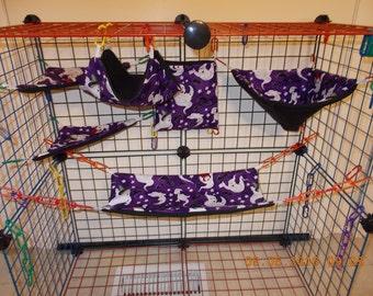 HALLOWEEN PURPLE GHOSTS Sugar Glider 6 pc cage set