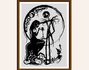 BUY 2 GET 1 FREE. Modern cross stitch pattern Sally and Jack Skellington Nightmare Before Christmas cross stitch patterns baby cross stitch