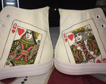 Converse all star Custom Shoes/custom shoes King & Queen of hearts-painting