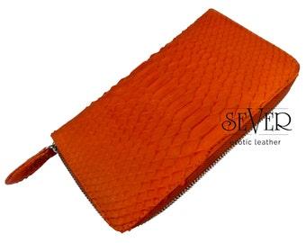 Orange Wallet, Zip Wallet, Python Wallet, Wallet Women, Orange Python Wallet, Leather Wallet, Snakeskin Wallet, Zip Around Wallet, SV-0002