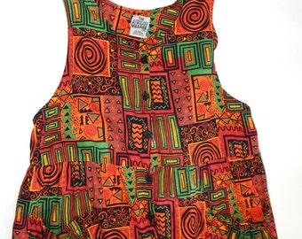 AFRICAN VILLAGE 90's Hip HopOversized Jumpsuit Geometric Ethnic Print Sz - M