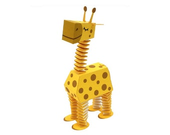 Paper toy giraffe, camelopard for self-assembly. Printable A4. PDF. Animals. Instant Download.