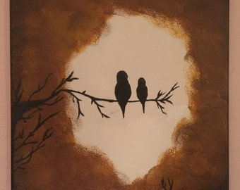 Acrylic canvas painting of birds in a tree.