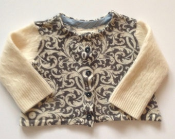Baby's Cashmere and Printed Merino Wool Jacket - Upcycled for Kids 6 - 12 mos