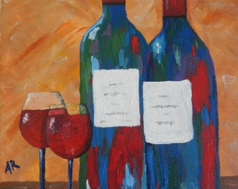 Wine for Two; acrylic painting, wine painting, canvas art