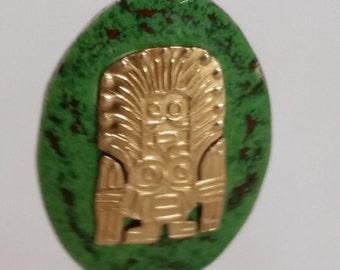 Aztec, Inca, Mayan God Earrings, Sterling Silver, 18kt Gold, Screwback, Vintage 1940's
