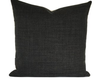 """Charcoal Grey Linen Style Fabric Cushion Covers / Bolster / 16"""" 18"""" 20"""" 22"""""""