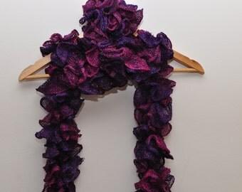 Glittery purple ruffle scarf