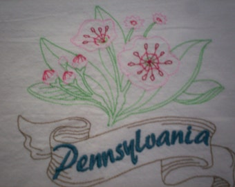 Pennsylvania Mountain Laurel Embroidered Flour Sack Towel, Pennsylvania Mountain Laurel Embroidered Tea Towel, Pennsylvania Towel