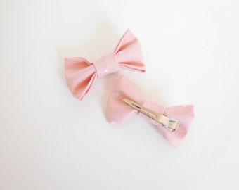 Mini Size - Pink and White Hair Bow - White Polka Dot Hair Bow - Pink Hair Bow - Pink and White Polka Dot Hair Bow