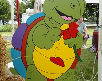 Myrtle the Turtle Picking Flower Petals Spring Summer Yard Art Lawn Decoration
