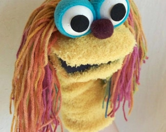 yellow sock puppet, hand puppet, moving mouth puppet, puppet for children, therapy and educational puppet