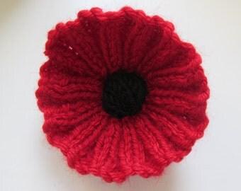 Knitted Poppy Brooch