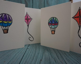 SET OF 4 - Kite and Hot Air Balloon Hand Stamped Watercolor Greeting Cards
