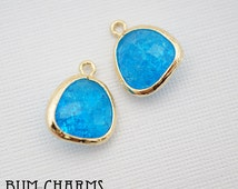 F0002 - Crushed - Framed Stone, Glossy Gold Plated, Brushed Nugget Teardrop Caribbean Blue Colored Glass Pendant, 2 Pieces