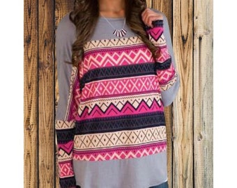 """The """"Annabelle"""" Pink and Gray Geometric Print Blouse"""