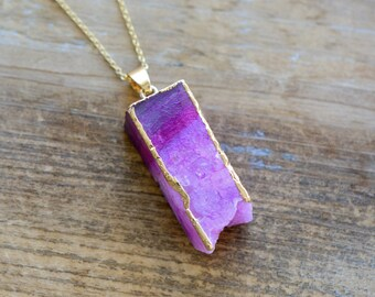 Square Column Pink Druzy Necklace - Agate Pendant w/ 24K Gold Edge Plating & Stainless Steel Chain - Gemstone Jewelry