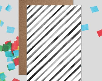 Black and White Stripes Watercolour Pattern Greeting Card - Blank / Birthday
