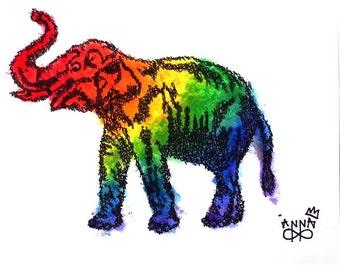 Rainbow Elephant Made of Words