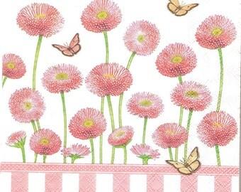 4 Paper napkins for decoupage, Bellis rose decoupage napkins, collage and mix media paper, serviette, Floral paper napkin, decoupage g087