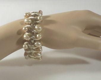 Vintage Charel Goldtone Link Bracelet S112 Designer Signed Highlighted with Faux Pearls and Rhinestones