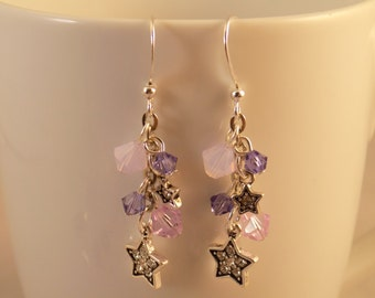 Pink and Purple Star Earrings