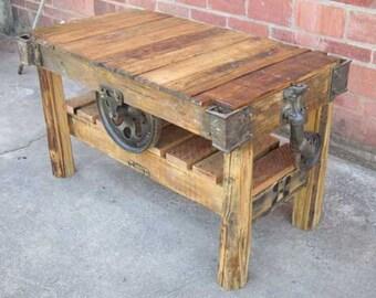 Furniture Factory Cart Rustic Tall Bar Table
