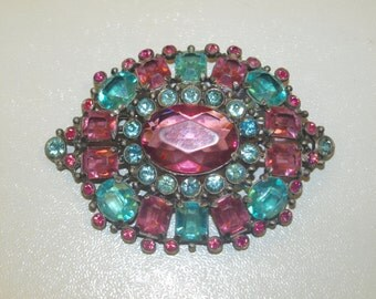 Large 1930's Pink and Blue Brooch