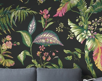 Seamless Self Adhesive Tropical Leaf Garden Pattern Wallpaper - Removable Wall Decals - Tropical Leaves Wall Stickers