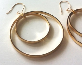 Double Gold Hoops, Large Gold Hoops, Gold Hoop Earrings, Big Hoop Earrings, Gift for Her, Dangle Hoops, Gold Hoops, Handmade Hoop Earrings