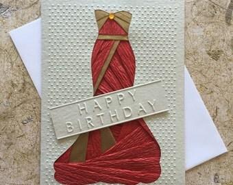 Handmade Evening ball gown Birthday card