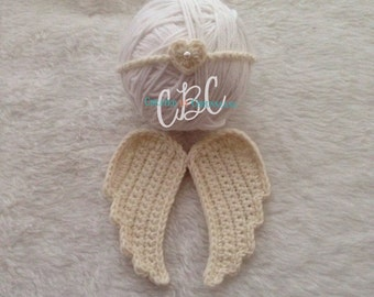 Ready to Ship, Baby Crochet Wings and Headband set, Valentines Day