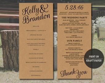 Printable Wedding Program | Instant Download Template | DIY Rustic Wedding Program Template | Mac or PC | Easy to Edit | DIY
