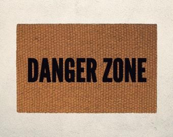 Danger Zone Welcome Doormat – Hand Painted Outdoor Rug – Funny Archer and Kenny Loggins Inspired Doormat