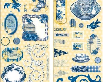 Bo Bunny Genevieve Chipboard - Genevieve Chipboard - Decorative Chipboard - Blue and Yellow Chipboard Embellishments - Decorative 4-057