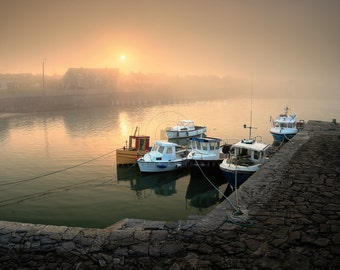 Foggy sunset at Rush harbour boats Dublin