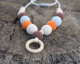 Long Crochet Bead Necklace with Wood Ring  ~ Orange Blue Cream Brown ~ Nursing Necklace