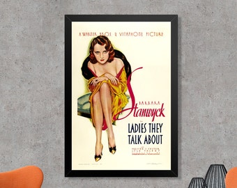 Ladies They Talk About Vintage Pre-code Hollywood Movie Poster Print