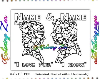 custom personalized princess leia han solo i love you i know coloring page coloring pages for