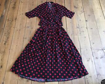 Vintage 1980s 90s Polka Dot Midi Skirt & Bow Back Blouse Set 10 Nightingales