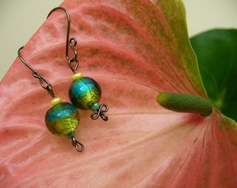 Jewel- Hand made earrings with lovely green and turqouise glass beads. By Little Mechanical Bird